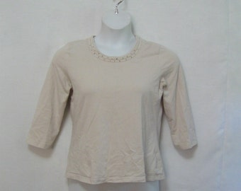 90's Misses PM Beige Knit Top 3/4 Sleeves Bronze Stud Trim Stretchy Neutral Knit Top Stretchy