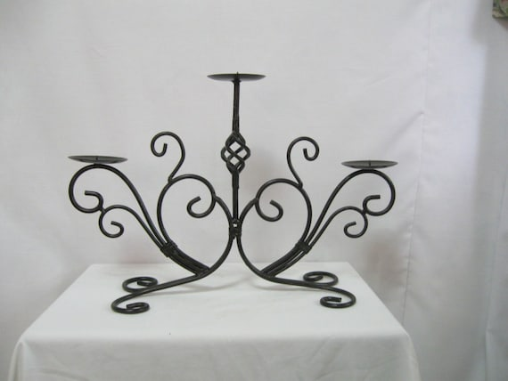Large Black Wrought Iron Candle Holder 1980's Candle Stand