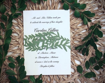 Floral / Vine Wedding Invitation Belly Band / Wedding Invitation Enclosure