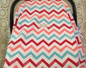 MARKDOWN Baby, Car Seat Cover, Red and Teal, Chevron