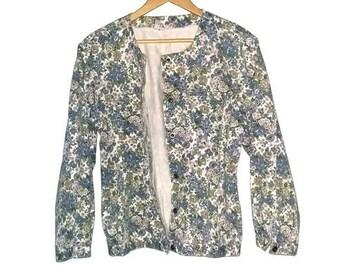 Vintage Jean Jacket 90s Denim Jacket Blossom Floral Print Button up Lightweight Soft Grunge Size Large