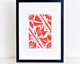 Mexican Bird Folk Art Linocut Print 8x10