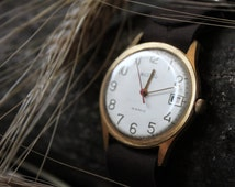"Soviet vintage mens  watch ""Vostok / East"", watch gold plated, very rare Soviet watch, USSR 70s"
