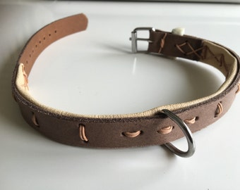 Leather dog collar brown, size 35-44 cm / 13.78 - 17.32 inch