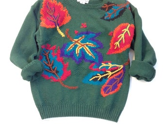 Vintage handknit fall sweater. Green sweater