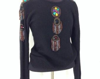 80s rockabilly black beaded soft warm sweater. Statement piece sweater.