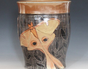 Stoneware, Hand Painted Luna Moth, Sgraffito carved, Utility Jar, or Vase