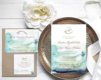 Elegant Blue Watercolor Wedding Invitation // Available in Gold Foil Lettering