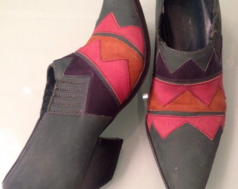 Vtg Geometric Tex-Mex Southwestern Ankle Boots~ Size 7.5 Womens 1980's