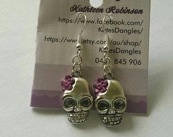 Silver skull, skull earrings,  skull pendant,  purple skull, purple skull earrings, sterling silver earrings, purple earrings