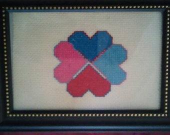 Hearts cross-stitch