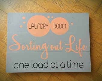Laundry Room Wood Picket Sign 23x16