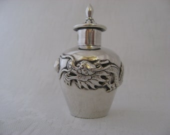 Antique Chinese Silver Bottle Dragon With Pearl Signed Snuff / Parfume Flacon. Made In China.