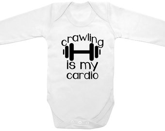 "Long Sleeve Cute Baby One Piece ""Crawling is my cardio"" Printed on The Laughing Giraffe 7.2 oz"