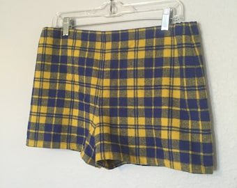 70's 80's Blue and Yellow Plaid Shorts