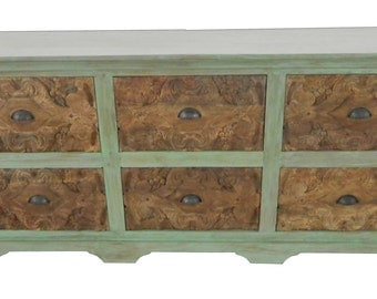 Aqua Carved Dresser, Carved Dresser, Vintage Dresser