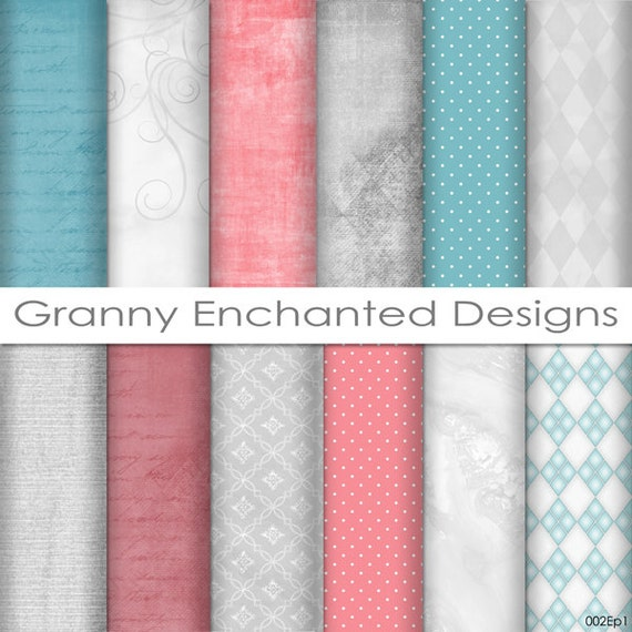 12 Digital Papers - Teal, Gray, and Pink/Red in soft Patterns for Digital Backgrounds, Invitations, Scrapbook Paper, and Web Design (002)