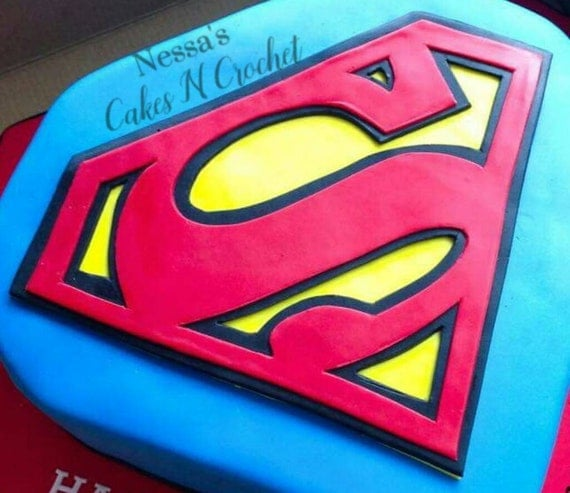 Superman logo edible fondant cake topper