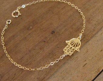 Hamsa bracelet, gold hamsa bracelet, gold bracelet, sideways hamsa, gold hand bracelet, protection jewelry, dainty bracelet, charm bracelet