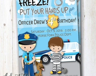 Cops and Robbers Birthday Party Invitation - Little Boys Birthday - Police Party Invite  - Community Helpers Party