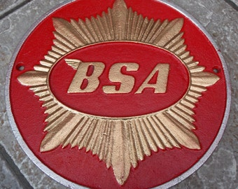 Superb Heavy Cast Iron Sign BSA GOLD STAR Motorcycles Advertising Sign