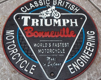 Superb Heavy Cast Iron Sign TRIUMPH BONNEVILLE Worlds Fastest Motorcycles Advertising Sign