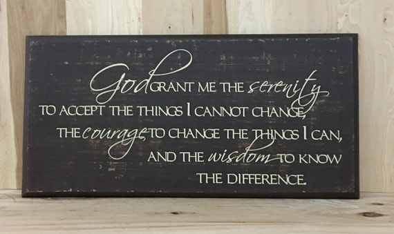 Serenity Prayer Wood Sign Christian Wall Art Religious Gift