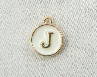 """White and Gold Enamel Letter """"J"""" Charm, 1 or 5 letters per package  ALF003j-W"""