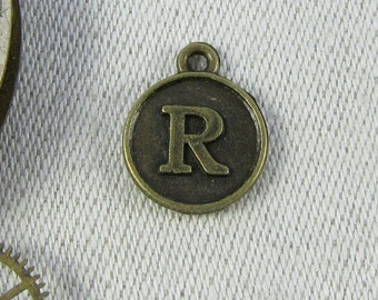 "Bronze Medallion Letter ""R"" Charm 1 or 5 letters per package ALF012r-BZ"