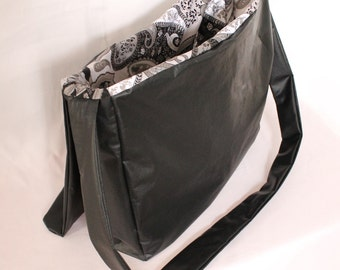 Black Leather Messenger Bag with Gray Paisley Silk Lining