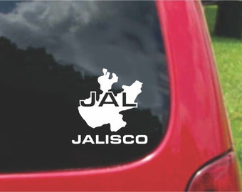 2 Pieces Jalisco Mexico Outline Map  Stickers Decals 20 Colors To Choose From.  U.S.A Free Shipping