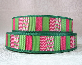 7/8 inch- PINK AND LIME green patterns - chevron dots - Printed Grosgrain Ribbon