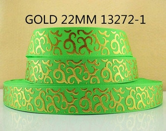 7/8 inch Gold Swirls on Lime Green 13272 -  Printed Grosgrain Ribbon for Hair Bow