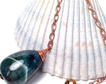 Green Moss Agate Stone Pendulum, divination, metaphysical