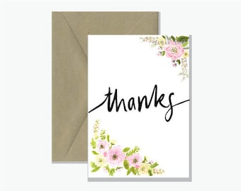 Thanks - Greeting Card | Watercolour Thankyou Gift Card