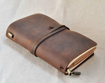 Handmade Leather Traveler's Notebook Journal  Travel Diary (free stamp )