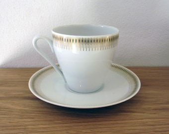 10% discount - Lyngby porcelain - Trend 1220 - tea cup / coffee cup and saucer from the 1960s