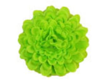 """2"""" Pompon Hair Flowers - Lime Green (2 flowers)"""