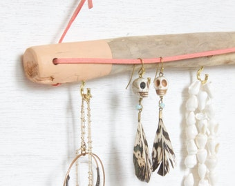 Jewelry Wall Organizer - Driftwood // Jewelry Display Jewelry Hanger Jewelry Storage Jewelry Rack Earring Hanger