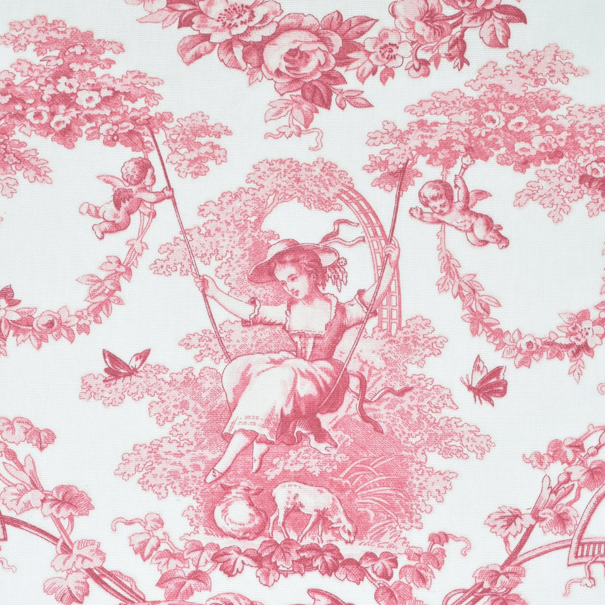 French Home Decor Fabric Toile de Jouy Cotton by meter Width 110