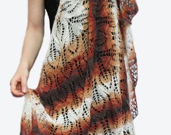 Knitted scarf shawl, knit shawl, wraps shawls, knitted shawl, crochet shawl,red , brown , sand shawl