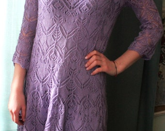 Lilac openwork knitting dress.
