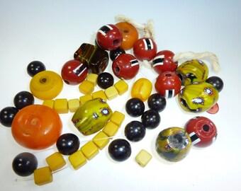 Africa-Bead-Mix orange-yellow-black