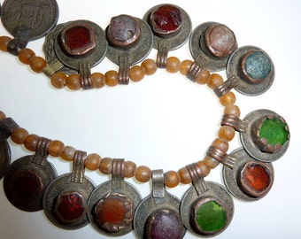 Strand of vintage Tribalcoins and Tribalcoins with Glass Jewels, Very Vintage