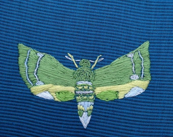 Handmade Hoop Embroidery of Green Moth