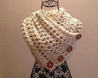Crocheted Chunky cowl neck scarf with buttons