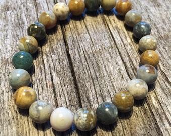 Ocean Jasper Gemstone Bracelet - Peace  Optimism Patience Joy      Yoga  Mala  Women's or Men's