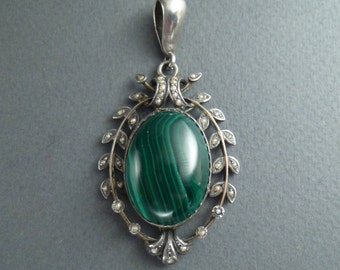 Silver and malachite and pearls  pendant c 1880