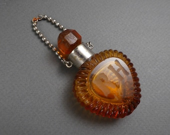 Amber glass scent bottle initials RH -1890- amber stopper