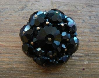 Vintage Black Glass Brooch